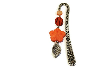 Perfect Gift for Teachers, Tangerine Orange Bookmark with Leaf Charm and Shell Beads