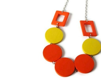 Neon Jewelry, Neon Orange and Yellow Necklace in Wood, Bright Colors, Geometric Jewelry, Perfect Summer Fashion