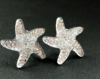 Starfish Earrings. Star Earrings with Silver Stud Earring Backs. Handmade Jewelry.