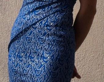 Vintage Dress, Blue Evening Dress, Sleeveless Evening Dress, French Vintage
