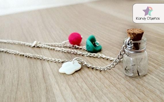 Dandelion Seeds Necklace. Make a Wish Pendant. Glass Vial with Dandelion Seeds. Flowers Nature Botanical Bottle Necklace. Wish necklace