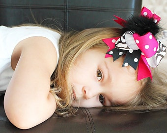 Zebra Bow - Over the Top Boutique Bow - Hot Pink and Zebra Print -