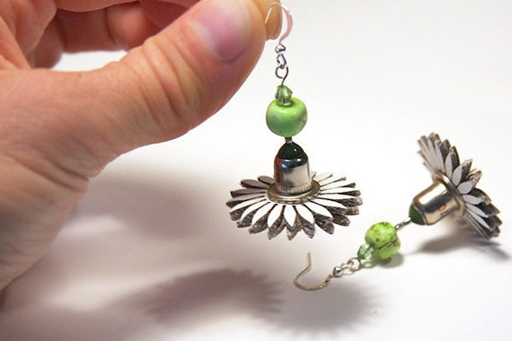 Wearable Tech, Antique Green Diode Steampunk Techie Jewelry, Computer Earrings, Electronics Eco Friendly Earrings, White Leather Flower