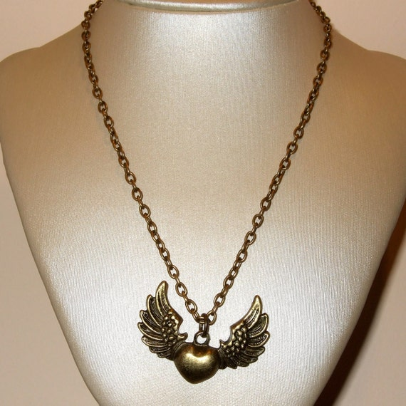 Winged Heart Necklace, Flying Heart Charm, Heart Necklace, Winged Pendant, Bronze Heart Charm, Old School Heart, Simple Necklace, Wing Heart