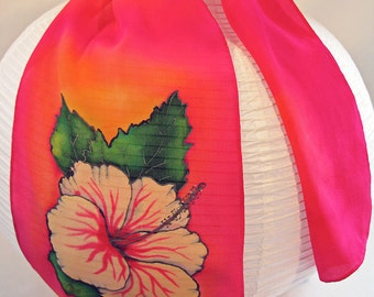 "Hibiscus Silk Scarf. Painted silk scarf. 8""x52"" crepe. Hand painted silk scarves. Hand-painted silk scarf. hand painted silk scarf"