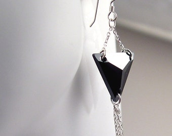 Triangle crystal black earrings with fine sterling chain tassels.  Gift boxed and shipped free.