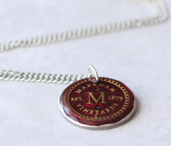 Initial M Necklace, Burgundy Red, Gold Letter M, Upcycled Wine Foil Washer Pendant Necklace, Stainless Steel