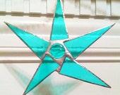 Aqua blue, green, teal stained glass star, gift, suncatcher, star, ornament