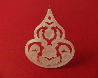 2 Vintage 47mm Matte Crystal Floral Filigree Pendant Pd58
