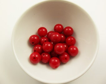 30 Vintage 11mm Red Side-Drilled Lucite Button Beads Luc223