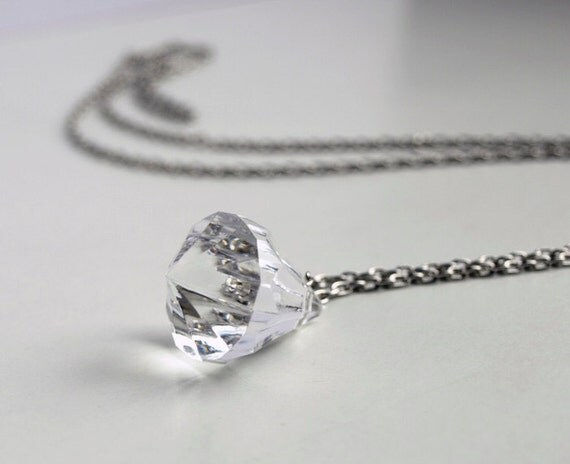 CLEARANCE sale - crystal necklace. long geometric necklace - faceted acrylic prism on silver plated chain. modern jewelry