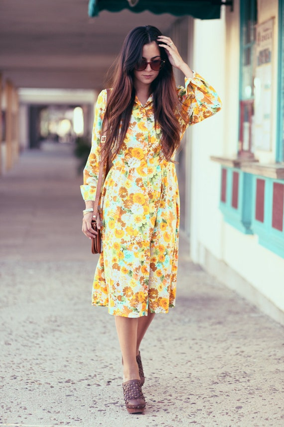 Madmen Style Yellow Floral Long Sleeve Midi Dress - Dandy Land