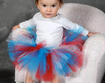 4th of July Baby Tutu:  TURQUOISE, RED, & WHITE - Patriotic and Dr. Seuss Tutu