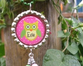 OWL bottle cap necklace - ball chain or ribbon - magnets - wine charms - CUSTOMIZABLE - free personalization - boy and girl