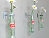 2 Coca-Cola Bottle Hanging Flower Vases -Mother's Day Gift idea  - Red Wall Decor - Vintage Kitchen -  50's Diner