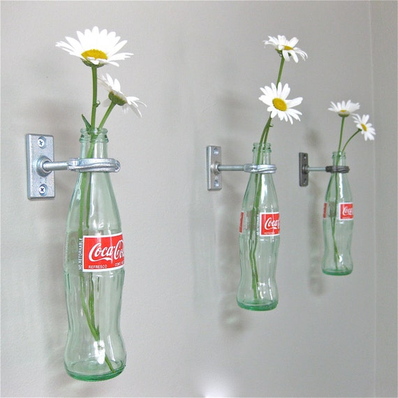 4 Coca-Cola Bottle Hanging Flower Vases - Coke Decor - Vintage Kitchen -  spring flowers - daisies - 50's Decor - Gift for Mom
