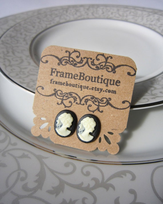 Victorian Cameo Earrings, Black & White Cabochon Studs, FrameBoutique Silhouettes