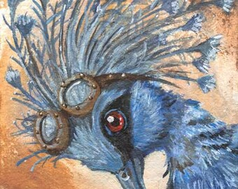 Steampunk Print, Crowned Pigeon, Steam Punk Goggles, Blue Bird Decor, Animal Portrait, ACEO Art Card, Large Wall Art