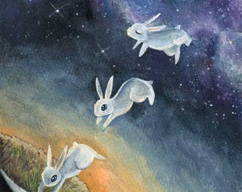 White Rabbit Print, Custom Size, Bunny Decor, Surreal Artwork, Galaxy Art, Mental Health, Animal Lover Gift, Sunset Picture, Starry Night