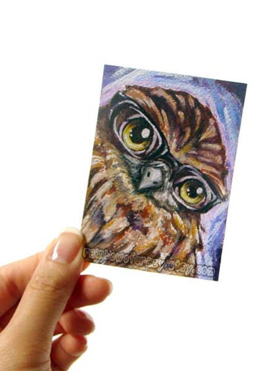 Cute Owl Print, Nerd Bird Artwork, ACEO Art Card, Glasses Decor, Bird of Prey, Animal Portrait Illustration, Storybook Picture, Brown Bird