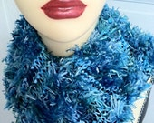 Softest DEEP BLUE OOAK Knitted Scarf, Furry, Fuzzy, Luxuriously Feminine, Hanukah, Holidays, Evening