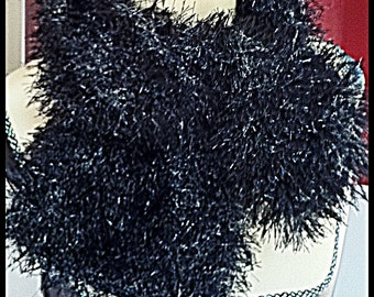 NAUGHTY NOIR hand-knitted black faux fur luxury neck-warmer scarf - New Year's Eve