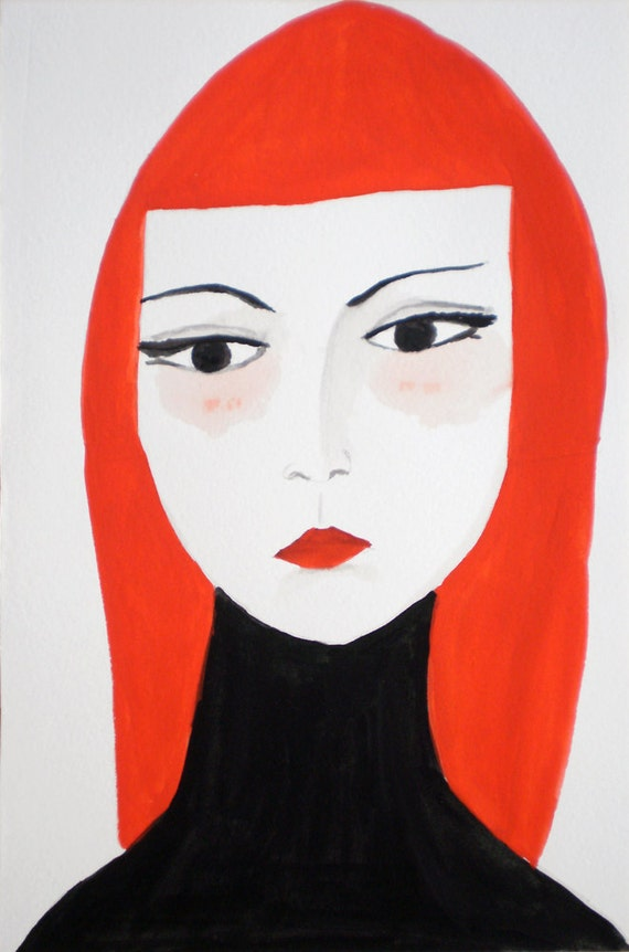 Framed Original Portrait - Woman Tempera Illustration -- Original Art -- Femme Fatal IV