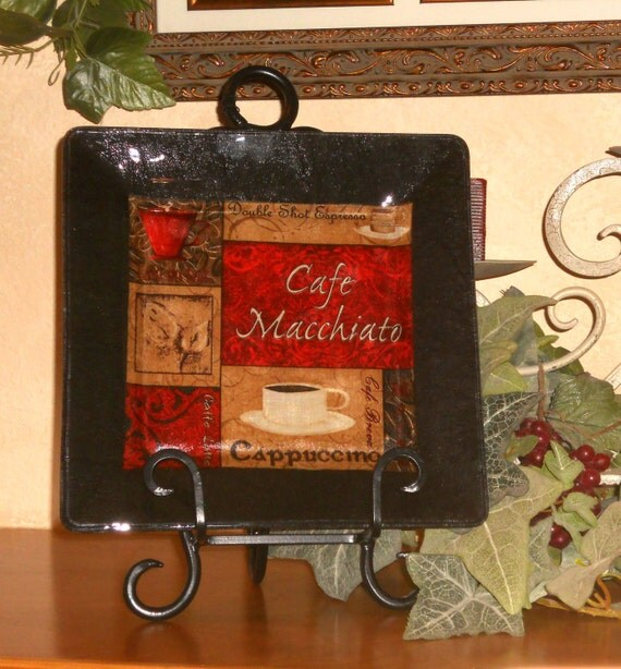 Coffee Theme Decor Plate Decorative Decoupage Glass Plate