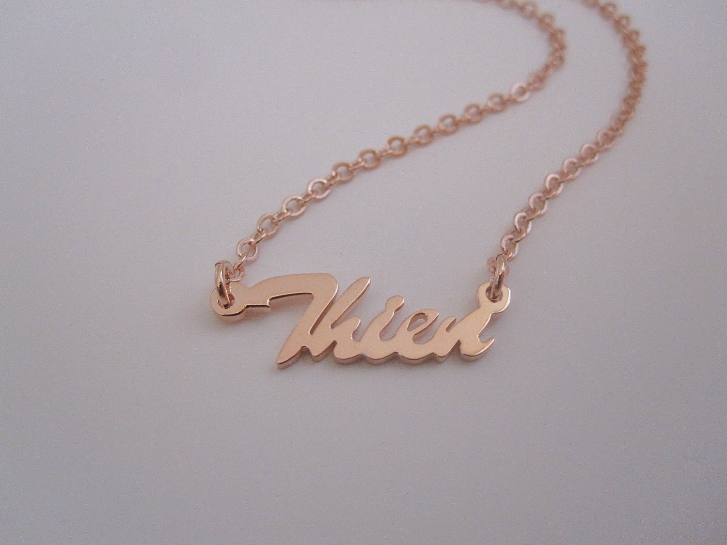 Personalized mini rose gold name necklace for Rose gold personalized jewelry