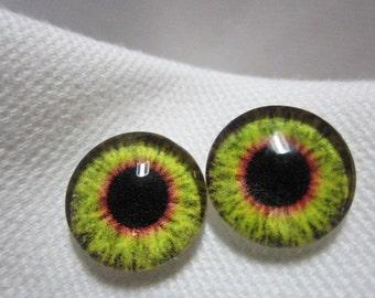 Doll or animal eyes- 12mm glass eyes-  polymer clay safe