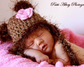 READY TO SHIP Baby Hat -  Baby Bear Hat Soft & Fluffy with Earflaps, Ties and Flower Clip
