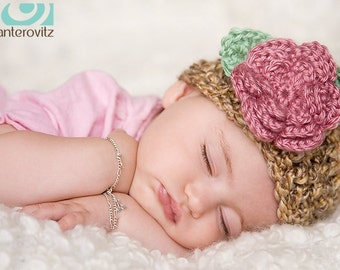 READY Baby Girl Hat -  Pretty Baby Hat with Rose Flower Clip - Very Soft & Cozy