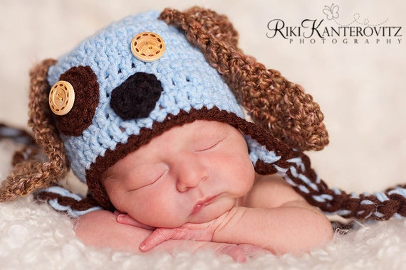jporche order - priority shipping Newborn Baby Puppy Dog Cap Hat with Earflaps & Tie - Fun Details
