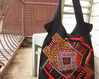 Ethnic patchwork tote bag // tribal // geometric // cubism // up-cycled textile // navajo