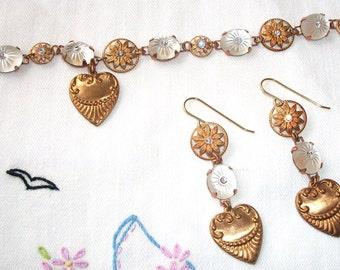 "HANDMADE Glass/Brass Set,  ""Love Me Truly""  Bracelet & Earrings, Bridal SET, Bohemian Pair, Vintage Components, One of a Kind VALENTINE!!"