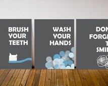 Kids Bathroom Decor - Brush Your Teeth Art - Wash Your Hands Print - Smile Art - Childrens Bathroom Art - Bathroom Decor - Bathroom Poster