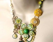 Statement Necklace - Vintage - Bespoke Unique Bib Necklace - Green Yellow - Spring