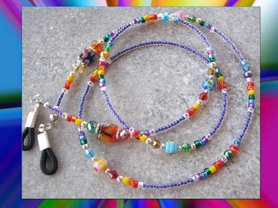 CHEERFUL-  Beaded Eyeglass Lanyard- Swarovski Crystals, Pearls, and Millefiore Beads