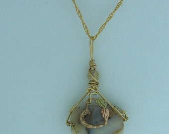 OOAK Handcrafted Moukite Jasper & Black Hills Gold Accent Pendant // 14KGF Wire Wrapped Gemstone Jewelry