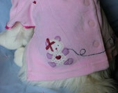 Pink Velveteen Dress with Hearts Teddy Bear Wheeled Rabbit Child's Dress Altered for Small Dog Upcycled