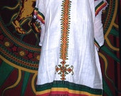 Ethiopian Dress and Shawl in Rasta Colors with a Reggae Vibe