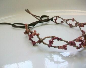 Purple Bridal Headpiece -Rustic Hair Accessories, Berry Hair Crown, Hair Vine, Head Piece, Headband, Flower Girl Hair Wreath, Bridal Tiara