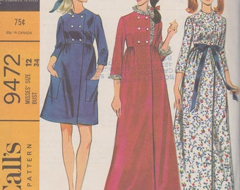 1968 Mod Double Breasted, High Waisted Robe in Mini or Maxi Length Vintage Pattern, McCalls 9472, Patch Pockets, Lace Trim, Warm Housecoat