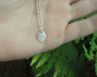 Tiny Leaf Necklace - Botanical Jewelry - Woodland Leaf - Made with a Real Leaf - Silvan Leaf - Artisan Crafted -Eco Friendly Recycled Silver
