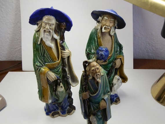 Chinese MudMen. Lot of 3 ceramic figures. Up to 9 inches tall. Early 20th century. Estate pieces.