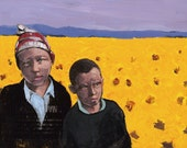 Dawn - Children in Sunflower Field - Giclee Print 8x10