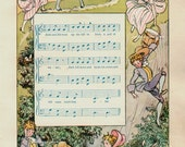 Vintage 1930s Delightful Nursery Rhyme Book Plate Jack And Jill Went Up The Hill ORIGINAL childrens book plate