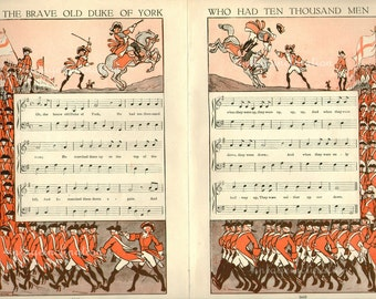 Vintage 1930 Delightful Nursery Rhyme Soldiers Book Plate Brave Old Duke Of York ORIGINAL childrens 2 book plates