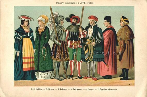 Antique Vintage 1894 Gorgeous Chromolithograph, German Clothing, 1800s art German Polish color lithograph
