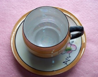Vintage Japanese Gold Lusterware Cup and Saucer